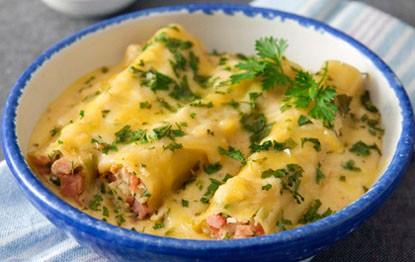 Cannelloni makaronai su vištiena ir kumpiu